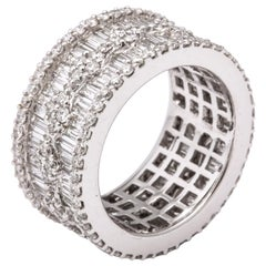 Wide Baguette and Round Diamond Band