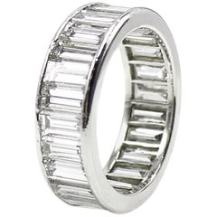 Wide Baguette Diamond Platinum Exquisite Eternity Band