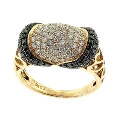 Wide Band Diamond and Black Diamond Yellow Gold Ring