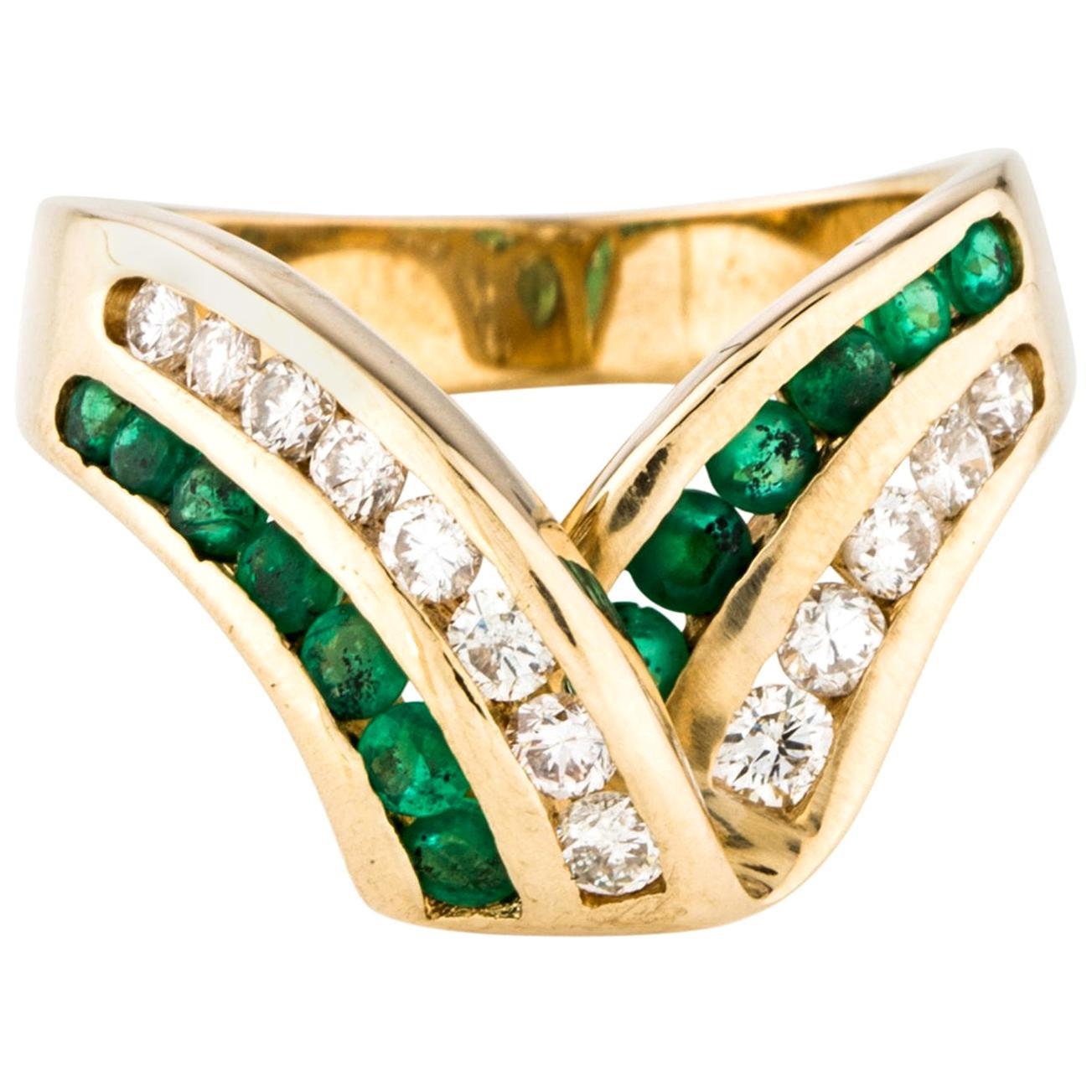 Wide Band Emerald Diamond Row Cocktail Ring 14 Karat Gold Gem V Ribbon Design