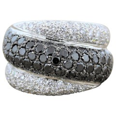 Wide Black and White Diamond Gold Band Ring