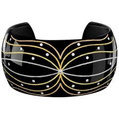 Wide Black Cuff Bracelet by Zoltan David