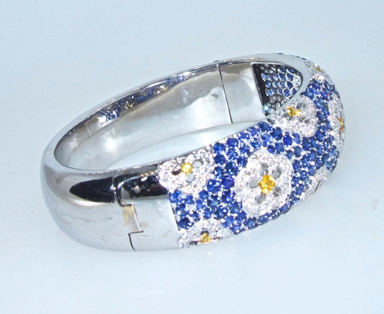 Contemporary Wide Blue and Yellow Sapphire and Diamond Bangle Bracelet For Sale