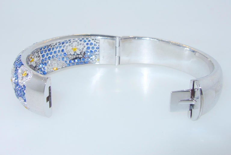 Women's or Men's Wide Blue and Yellow Sapphire and Diamond Bangle Bracelet For Sale