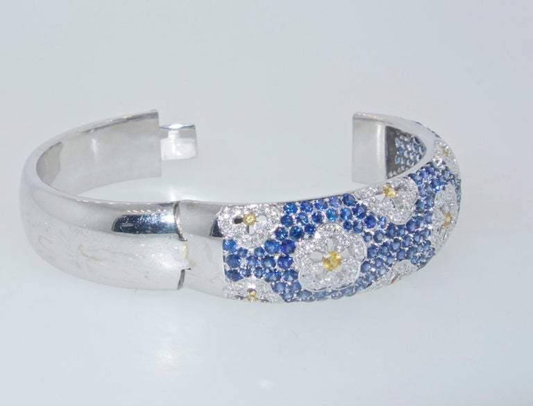 Wide Blue and Yellow Sapphire and Diamond Bangle Bracelet For Sale 1