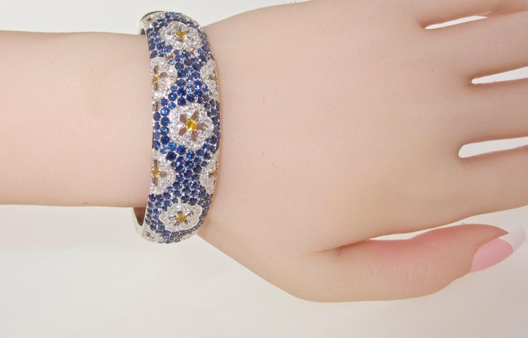 Wide Blue and Yellow Sapphire and Diamond Bangle Bracelet For Sale 2