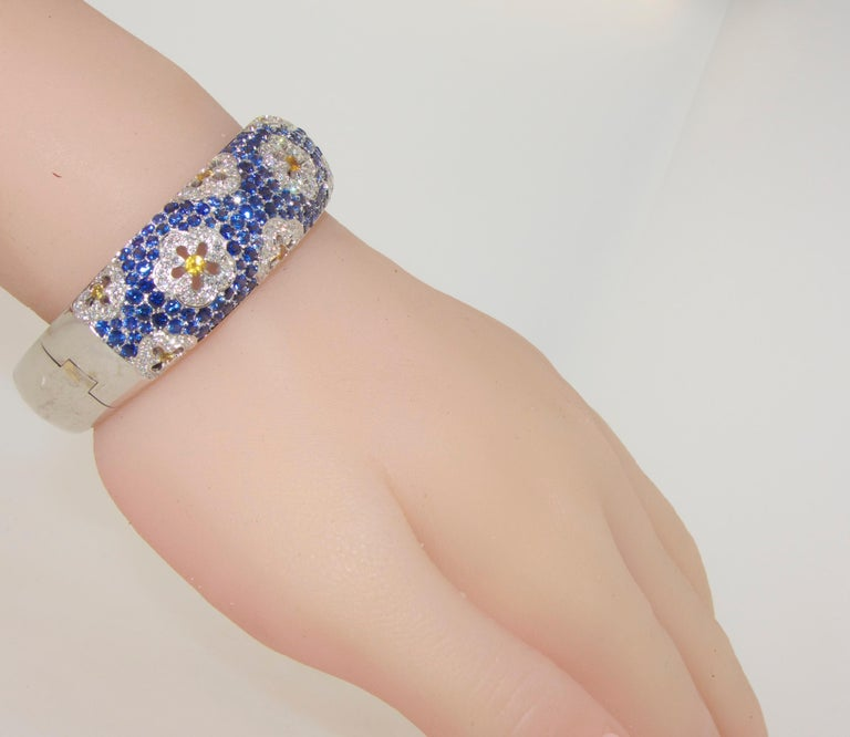 Wide Blue and Yellow Sapphire and Diamond Bangle Bracelet For Sale 4