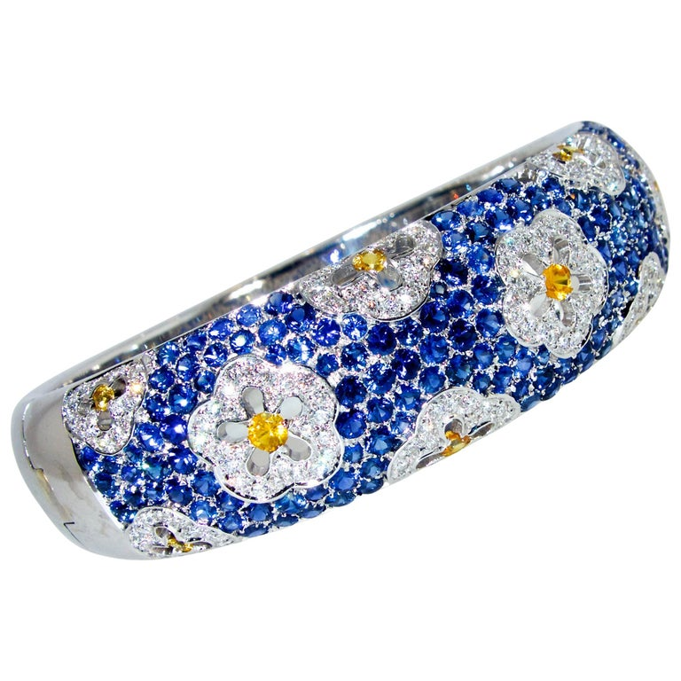 Wide Blue and Yellow Sapphire and Diamond Bangle Bracelet For Sale