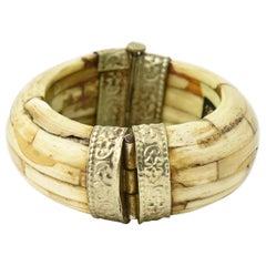 Wide Bone Silver Plate Hinged Bangle Bracelet