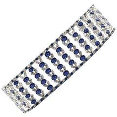 Wide Bracelet Blue Sapphire and Diamond Bracelet 14 Karat White Gold