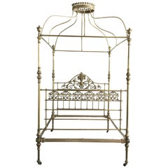 Wide Brass Four Poster Bed with Bird Castings, Ornamental Motifs and Crown