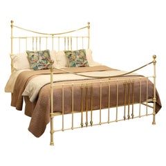 Wide Cast Iron and Brass Antique Bed in Cream MSK67