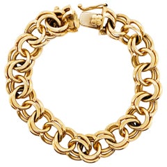 Wide Charm Bracelet with Double Loop, Wide, 14 Karat Solid Gold, Loop Bracelet