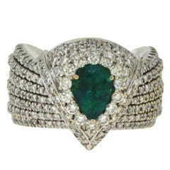 Wide Diamond and Emerald Center Stone White Gold Ring