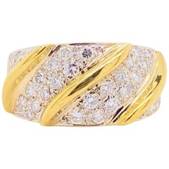 Wide Diamond Band, Yellow Gold, Bombe, Twisted Band, Pave Diamonds
