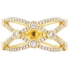 Wide Diamond Band Encrusted in Diamonds, 1/ 2 Carat Diamond Ring, 14 Karat Gold