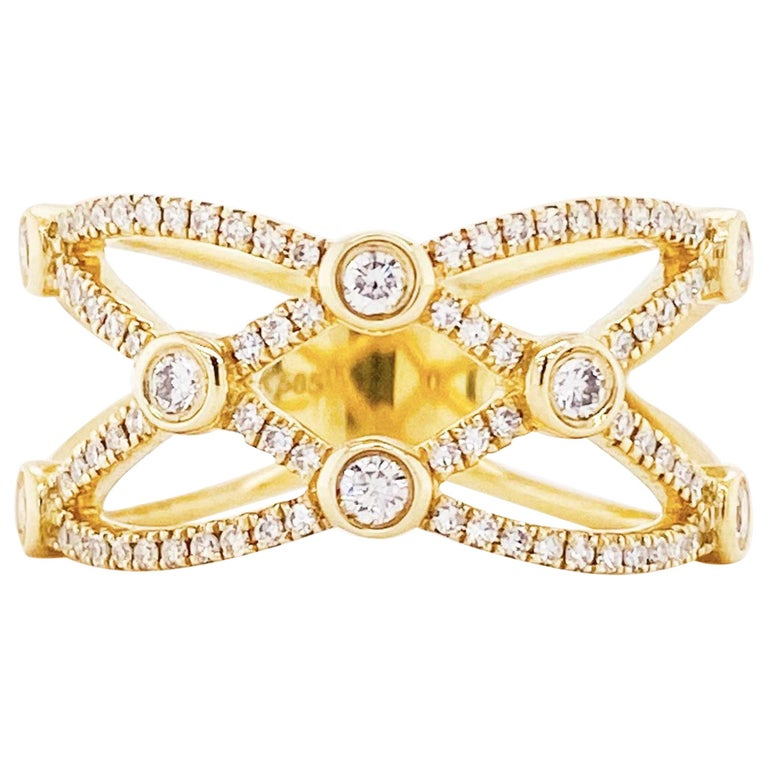 Wide Diamond Band Encrusted in Diamonds, 1/ 2 Carat Diamond Ring, 14 Karat Gold For Sale