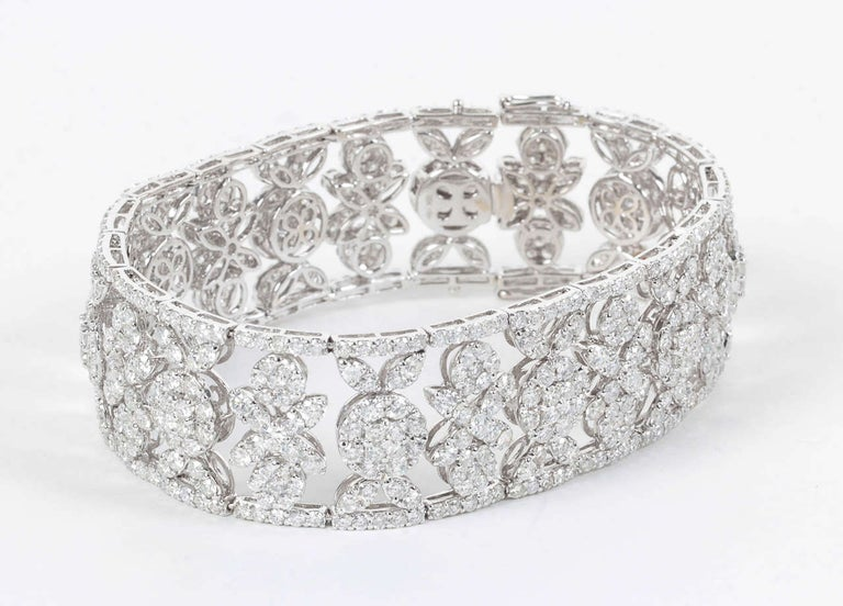 Women's Wide Diamond Bracelet For Sale