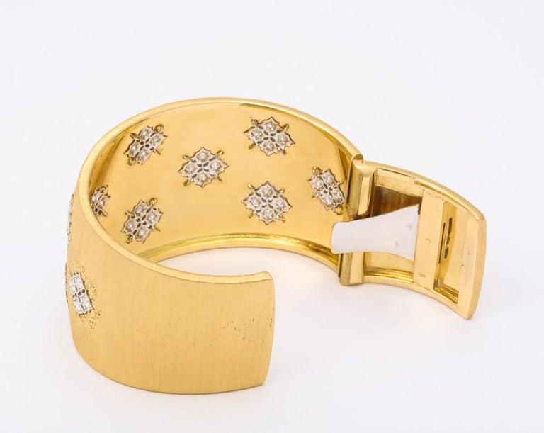 Wide Diamond Buccellati Cuff Bracelet For Sale 6