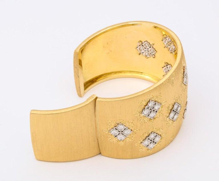 Wide Diamond Buccellati Cuff Bracelet For Sale 7