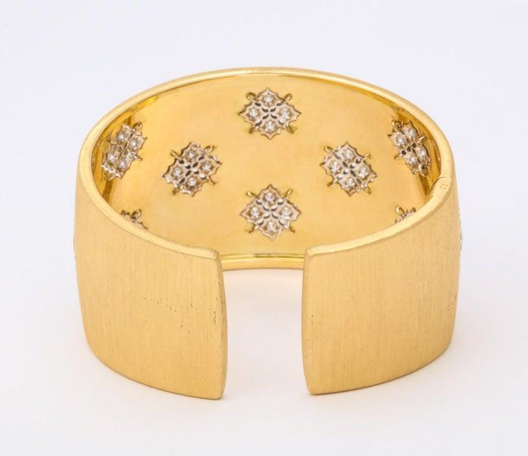 Wide Diamond Buccellati Cuff Bracelet For Sale 8