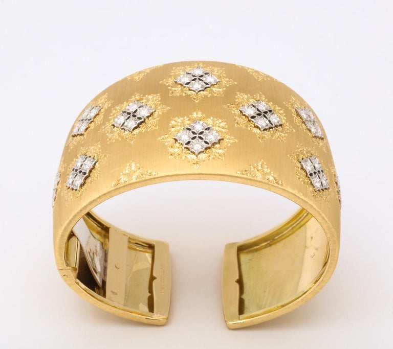 Wide Diamond Buccellati Cuff Bracelet In Excellent Condition For Sale In Bal Harbour, FL