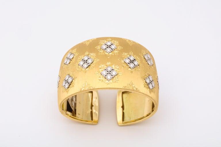 Women's or Men's Wide Diamond Buccellati Cuff Bracelet For Sale