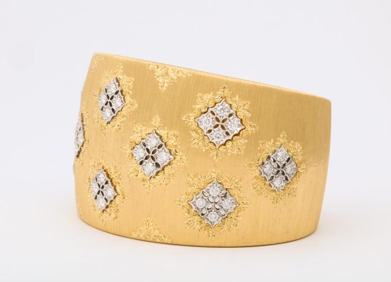 Wide Diamond Buccellati Cuff Bracelet For Sale 1