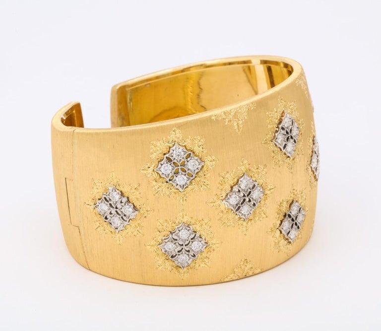 Wide Diamond Buccellati Cuff Bracelet For Sale 2