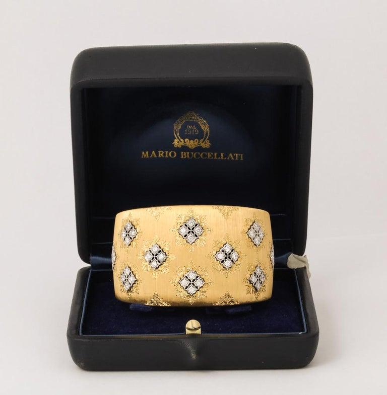 Wide Diamond Buccellati Cuff Bracelet For Sale 3