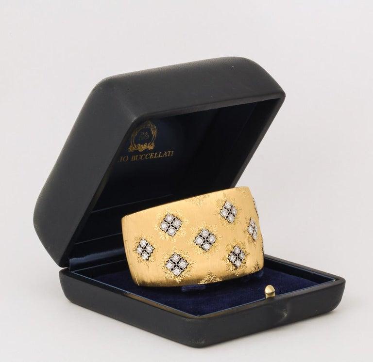 Wide Diamond Buccellati Cuff Bracelet For Sale 4