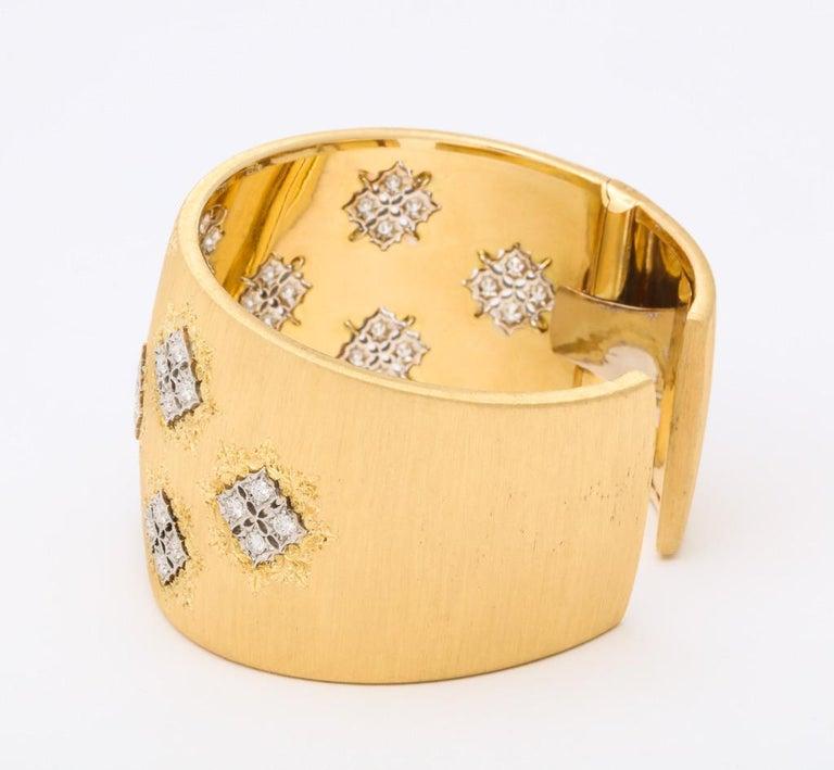 Wide Diamond Buccellati Cuff Bracelet For Sale 5