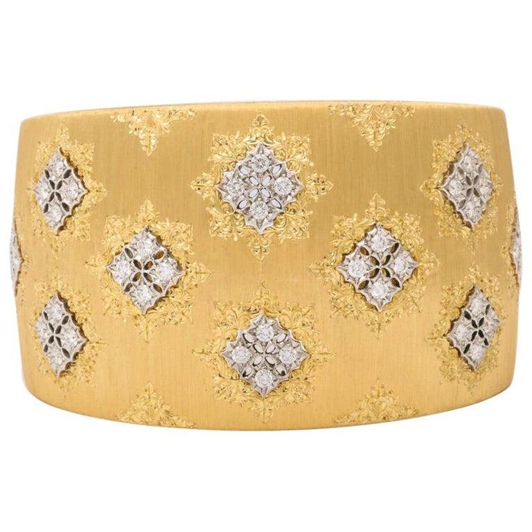 Wide Diamond Buccellati Cuff Bracelet For Sale