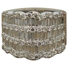 Wide Diamond Gold Band Ring