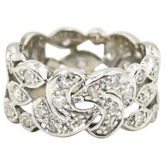Wide Diamond Ornate Platinum Eternity Band Ring
