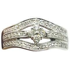 Wide Diamond Solitaire Gold Ring 18 Karat White Gold .55 Carat