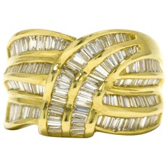 Wide Diamond Wedding Band 2.25 Carat Baguette Cocktail Ring Waterfall Knot Gold