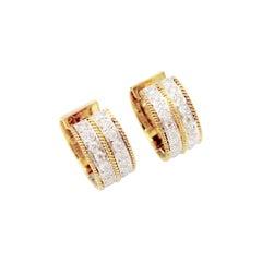 Wide Double Stripe Diamond Huggie Earrings with Milgrain Detail in 14k Gold