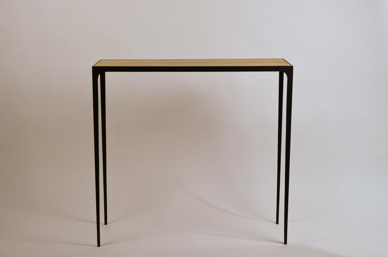 Wide 'Esquisse' natural parchment and wrought iron console by Design Frères.