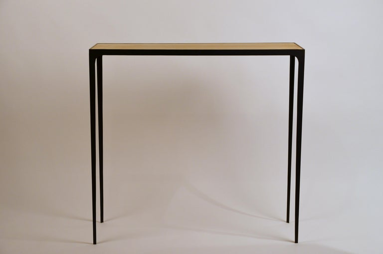 Art Deco Wide 'Esquisse' Natural Parchment and Wrought Iron Console by Design Frères For Sale