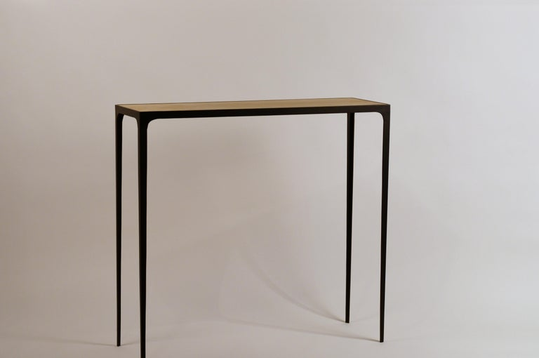 French Wide 'Esquisse' Natural Parchment and Wrought Iron Console by Design Frères For Sale