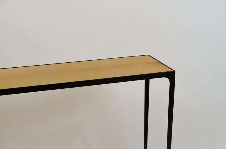 Blackened Wide 'Esquisse' Natural Parchment and Wrought Iron Console by Design Frères For Sale