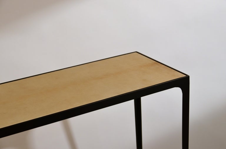 Contemporary Wide 'Esquisse' Natural Parchment and Wrought Iron Console by Design Frères For Sale