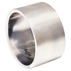 Wide Flat Band with Satin Finish in White Gold, Fashion Cigar Band Matte