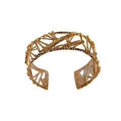 "Wide Gold Plated Bronze ""Twig"" Bracelet by Franck Evennou, France, 2018"