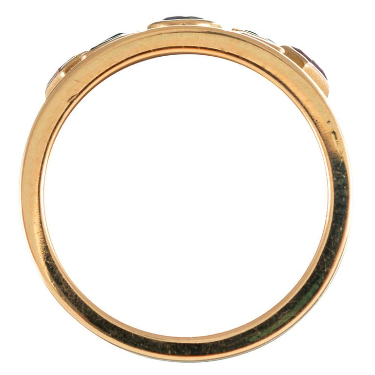 Women's Wide Golden Band with Colored Gemstones For Sale