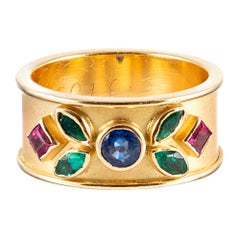 Wide Golden Band with Colored Gemstones