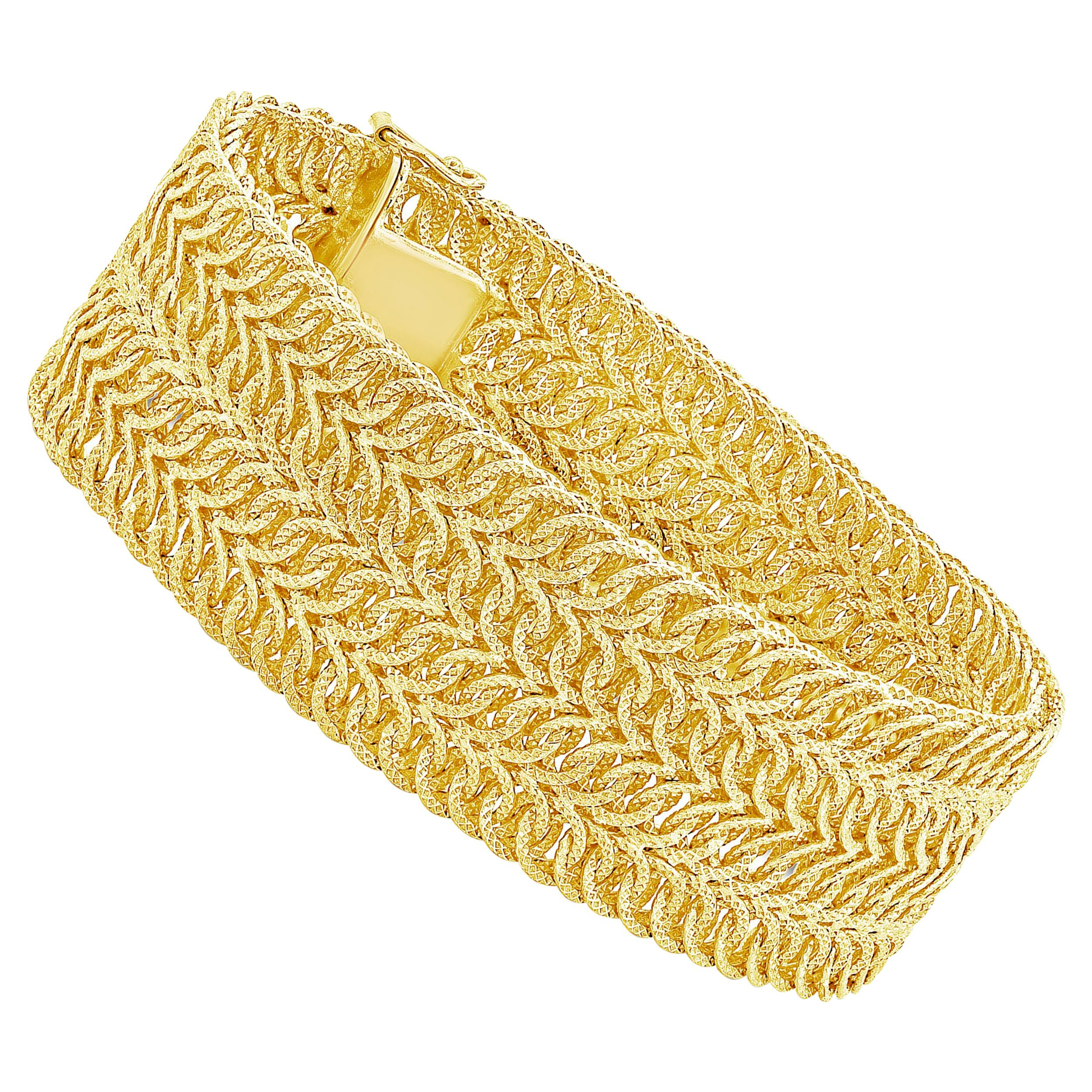 Wide Intertwined 18 Karat Yellow Gold Bracelet