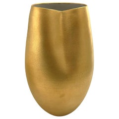 Wide Mouth Ceramic Vase in 22-Karat Matte Crackle Gold Glaze by Sandi Fellman