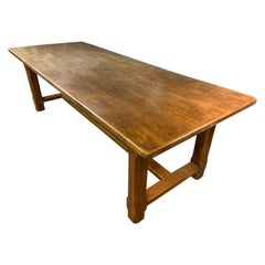 Wide Oak Farmhouse Table with Centre Stretcher